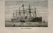 19th century Woodcut print on paper of the SS Great Eastern iron sailing steamship  from L'art Naval by Leon Renard, Published in 1881