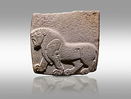 Aslantepe Hittite relief sculpted orthostat stone panel. Limestone, Aslantepe, Malatya, 1200-700 B.C. . Anatolian Civilisations Museum, Ankara, Turkey. Depiction of a horse walking.<br /> <br /> Against a gray background. .<br /> <br /> If you prefer to buy from our ALAMY STOCK LIBRARY page at https://www.alamy.com/portfolio/paul-williams-funkystock/hittite-art-antiquities.html . Type - Aslantepe - in LOWER SEARCH WITHIN GALLERY box. Refine search by adding background colour, place, museum etc.<br /> <br /> Visit our HITTITE PHOTO COLLECTIONS for more photos to download or buy as wall art prints https://funkystock.photoshelter.com/gallery-collection/The-Hittites-Art-Artefacts-Antiquities-Historic-Sites-Pictures-Images-of/C0000NUBSMhSc3Oo