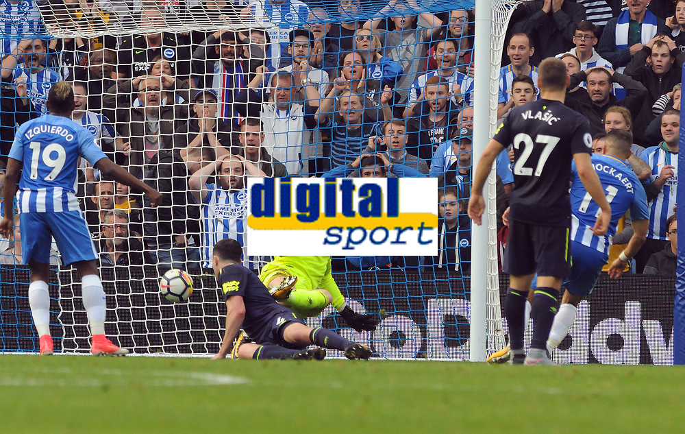Football - 2017 / 2018 Premier League - Brighton & Hove Albion vs. Everton<br /> <br /> Anthony Knockaert of Brighton scores his goal past Jordan Pickford at The Amex.<br /> <br /> COLORSPORT/ANDREW COWIE