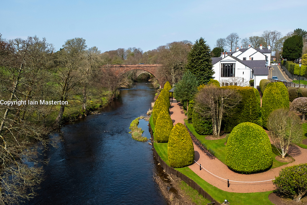 View of River Doon and gardens at Brig O Doon House Hotel from Brig O Doon in Alloway, Ayrshire, Scotland, UK.