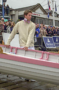Putney. London.  2004 University Boat Race,  Championships Course, Putney to Mortlake. <br /> Re enactment row, Cambridge and Oxford . CUBC Lucas HIRST. <br /> <br /> [Mandatory Credit Peter SPURRIER]