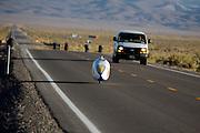 Sebastiaan Bowier is onderweg in de VeloX2. In de buurt van Battle Mountain, Nevada, strijden van 10 tot en met 15 september 2012 verschillende teams om het wereldrecord fietsen tijdens de World Human Powered Speed Challenge. Het huidige record is 133 km/h.<br /> <br /> Sebastiaan Bowier is on his way in the VeloX2. Near Battle Mountain, Nevada, several teams are trying to set a new world record cycling at the World Human Powered Vehicle Speed Challenge from Sept. 10th till Sept. 15th. The current record is 133 km/h.