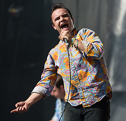 © Licensed to London News Pictures. 28/06/2015. Pilton, UK. Future Islands performing at Glastonbury Festival 2015 on Sunday Day 5 of the festival on the The Pyramid Stage stage.  This years headline acts include Kanye West, The Who and Florence and the Machine, the latter being upgraded in the bill to replace original headline act Foo Fighters.  Photo credit: Richard Isaac/LNP