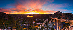 """""""Sunrise at Rainbow Bridge 6"""" - This fiery sunrise was photographed at Rainbow Bridge, also called Donner Summit Bridge, above Old hwy 40, Donner Lake, and Truckee, California."""