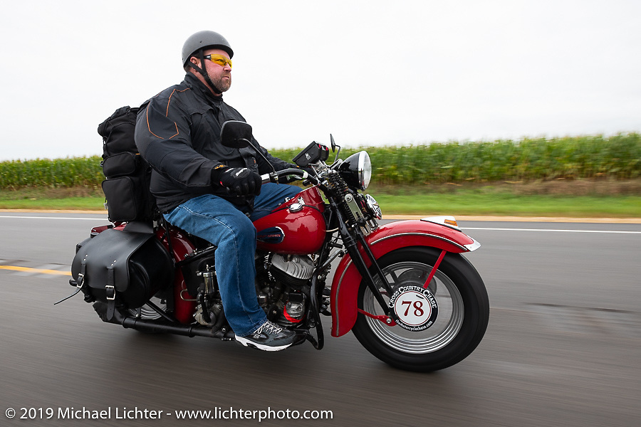 Curtis Venable riding his 1940 Harley-Davidson ULH Flathead in the Cross Country Chase motorcycle endurance run from Sault Sainte Marie, MI to Key West, FL (for vintage bikes from 1930-1948). Stage 3 from Milwaukee, WI to Urbana, IL. USA. Sunday, September 8, 2019. Photography ©2019 Michael Lichter.
