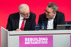 © Licensed to London News Pictures . 23/09/2018. Liverpool, UK. Labour Leader and Deputy Leader JEREMY CORBYN and TOM WATSON . The first day of the 2018 Labour Party Conference at the Arena and Convention Centre in Liverpool . Photo credit: Joel Goodman/LNP
