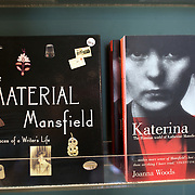 Books on sale at The Katherine Mansfield Birthplace, Wellington. The Katherine Mansfield Birthplace is the childhood home of one of the world's best-known short story writers and New Zealand's most famous author..You can enjoy a virtual visit to this historic family home and garden, as well as discover the life and work of the writer herself at The Katherine Mansfield Birthplace. Tinakori Road. Thorndon. Wellington, New Zealand.  22nd January 2011. Photo Tim Clayton.