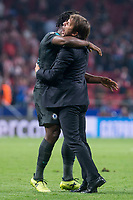 Chelsea's coach Antonio Conte and Michy Batshuayi  celebrating the victory during UEFA Champions League match between Atletico de Madrid and Chelsea at Wanda Metropolitano in Madrid, Spain September 27, 2017. (ALTERPHOTOS/Borja B.Hojas)