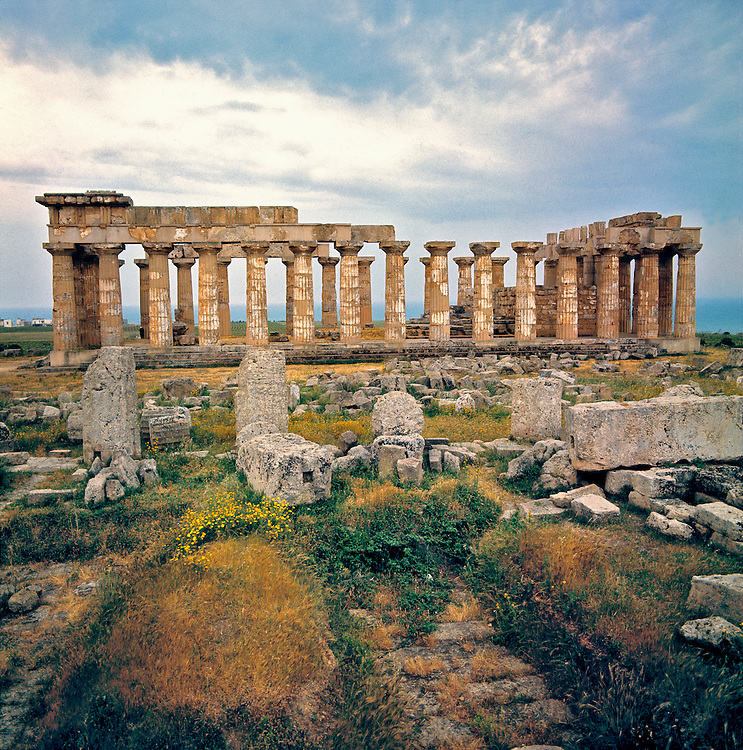 One of the eight Greek temples at Selinunte, on Sicily in Italy, overlooks the Mediterranean Sea.