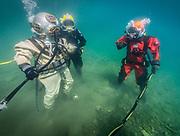 US Navy Mark-V, Kirby Morgan 37 Kirby Morgan Superlite 17 and commercial divers at Dutch Springs, Scuba Diving Resort in Bethlehem, Pennsylvania