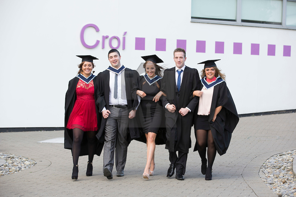 Caroline Flynn from Rathfarnham, Barry McAlister from Finglas, Ciara Keane from Cavan, Fintan Turner from Castleknock and Vicky Browne from Lusk pictured at the Institute of Technology Blanchardstown (ITB) 2013 conferring ceremony. 2013 sees the largest number of students being conferred with awards at ITB with over 800 people receiving awards in areas like Mechatronic Engineering, Horticulture, Accounting and Finance, Early Childhood Care and Education and Information Security and Digital Forensics to name but a few. Picture Andres Poveda