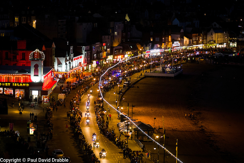 Scarborough Goldwing Light Parade 2015 from the terrace of the Grand Hotel<br />  11 September 2015<br />  Image © Paul David Drabble <br />  www.pauldaviddrabble.co.uk