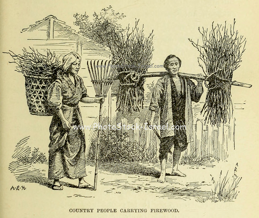 Country People carrying Firewood from the book ' Rambles in Japan : the land of the rising sun ' by Tristram, H. B. (Henry Baker), 1822-1906. Publication date 1895. Publisher New York : Revell