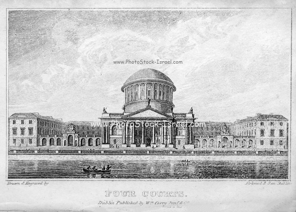 Four Courts Front View from the River, Dublin From the guide book ' The new picture of Dublin : or Stranger's guide through the Irish metropolis, containing a description of every public and private building worthy of notice ' by Hardy, Philip Dixon, 1794-1875. Published in Dublin in 1831 by W. Curry.