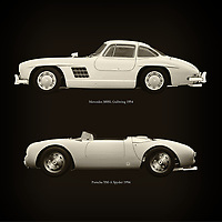 For the lover of old classic cars, this combination of a Mercedes 300SL Gullwing 1954 and Porsche 550-A Spyder 1956. is truly a beautiful work to have in your home.<br />