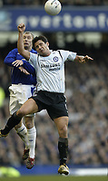 Photo: Aidan Ellis.<br /> Everton v Chelsea. The FA Cup. 28/01/2006.<br /> Chelsea's Frank Lampard battles with Everton's Tony Hibbert