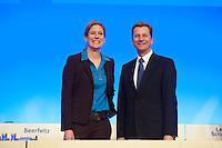 17 JAN 2009, BERLIN/GERMANY:<br /> Dr. Silvana Koch-Mehrin (L), MdEP, Vorsitzende der FDP im Europaparlament, und Guido Westerwelle (R), FDP Bundesvorsitzender, Europaparteitag der FDP, Estrel Convention Center<br /> IMAGE: 20090117-01-002<br /> KEYWORDS: party congress