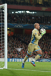 LONDON, ENGLAND - Oct 01: Napoli's goalkeeper Pepe Reina from Spain during the UEFA Champions League match between Arsenal from England and Napoli from Italy played at The Emirates Stadium, on October 01, 2013 in London, England. (Photo by Mitchell Gunn/ESPA)