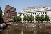 Harbour Pier buildings (Landungsbruecken) on the Elbe river, historic industrial architecture, Hamburg, Germany.