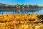 Autumn colors along the Vermilion River in the Sudbury District. The river flows into Lake Huron<br />Whitefish<br />Ontario<br />Canada