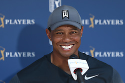 May 11, 2018 - Ponte Vedra Beach, Florida, U.S. - Tiger Woods speaks to the media after the second round of The PLAYERS Championship at TPC Sawgrass. (Credit Image: © Debby Wong via ZUMA Wire)