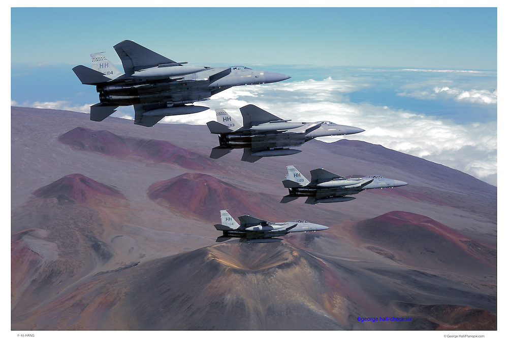 F-15, HANG, flying over Mona Kea