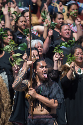 Maori people perform a haka during the visit of the Duke and Duchess of Sussex to Te Papaiouru, Ohinemutu, in Rotorua, before a lunch in honour of Harry and Meghan, on day four of the royal couple's tour of New Zealand.
