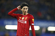 Liverpool's Takumi Minamino during the English FA Cup fifth round soccer match between Chelsea and Liverpool at Stanford Bridge Stadium, Wednesday, March 3, 2020, in London, United Kingdom. (ESPA-Images/Image of Sport)