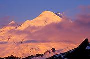 Dawn light on Mount Baker, Mount Baker Wilderness, Cascade Mountains, Washington USA