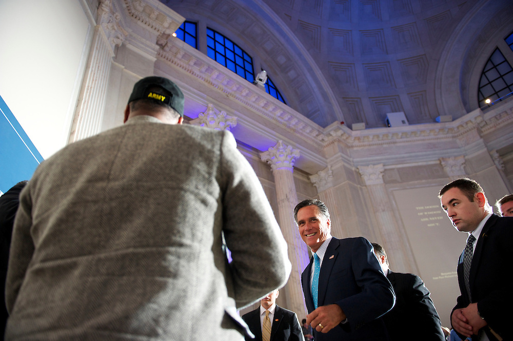 Former Massachusetts Gov. Mitt Romney, a candidate for the Republican presidential nomination, greets supporters after addressing the Tri-State Tea Party Caucus at The Franklin Institute in Philadelphia, Pa., on April 16, 2012.