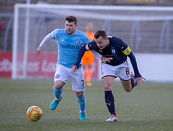 Forfar Athletic's Dale Hilson and Raith Rovers Kyle Benedictus. Forfar Athletic 3 v 2 Raith Rovers, Scottish Football League Division One played 27/10/2018 at Forfar Athletic's home ground, Station Park, Forfar.