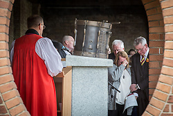 © Licensed to London News Pictures . 29/03/2015 . Manchester , UK . Lee's Mother Lyn Rigby and step-Father Ian (bottom left) . A bronze drum , in memory of Fusilier Lee Rigby , is unveiled in Middleton Memorial Gardens , North Manchester at a memorial service in his honour . Rigby was murdered in a terrorist attack in Woolwich in May 2013 . Photo credit : Joel Goodman/LNP