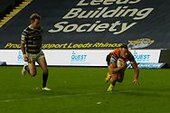 Greg Eden try during the Betfred Super League match between Leeds Rhinos and Castleford Tigers at Emerald Headingley Stadium, Leeds, United Kingdom on 26 October 2020.