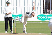Josh Bohannon bowling during the Specsavers County Champ Div 2 match between Leicestershire County Cricket Club and Lancashire County Cricket Club at the Fischer County Ground, Grace Road, Leicester, United Kingdom on 26 September 2019.