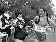 Finish of Dublin City Marathon .25/10/1982  Radio 2, Dublin City Marathon..1982.25.10.1982.10.25.1982.25th October 1982..The Radio 2 sponsored Dublin City Marathon finish at St Stephens Green Dublin..The overall winners were:Men, Gerry Kiernan,Listowel, Kerry. Women, Debbie Mueller,U.S.A. and the first wheelchair competitor Michael O'Rourke..Nuala Logan from Limerick in at the finishing point.