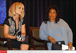 © Olivier Douliery/ABACA. 49396-12. Washington-DC-USA, 03/09/2003. Britney Spears and Aretha Franklin at the NFL Kickoff press conference at the Ritz Carlton.