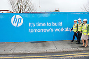 03/02/2014 HP Ireland announced the formal commencement of the construction phase of its new 89,000 sq. ft. office building in Ballybrit, Galway, at a ceremony attended by An Taoiseach, Enda Kenny, TD.  The project is expected to be one of the largest construction projects in Galway in recent times, and is likely to create up to 200 construction jobs.  Pictured at the event were:   An Taoiseach Enda Kenny TD, Mayor of Galway Cllr Padraig Connelly and Senator Hildegarde Naughton . Photo:Andrew Downes.