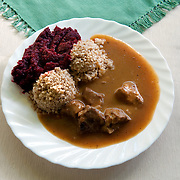 Beef with gravy<br /> Serves 70 <br /> <br /> Ingredients: 9 Kg beef without bones<br /> 2 Kg onions<br /> 1 Kg lard<br /> 2 tablespoons salt<br /> <br /> <br /> Preparation :<br /> 1.Cut the meat and lard into small pieces <br /> 2.Boil for 10mins<br /> 3.Add the onions <br /> 4. Simmer for 1 hour<br /> <br /> <br /> Side dish beetroot with horseradish <br /> Serves 70 <br /> <br /> Ingredients: 14 Kg beetroots <br /> 2 Kg horseradish <br /> sugar <br /> salt <br /> <br /> <br /> Preparation :<br /> 1.Boil the beetroots until soft <br /> 2.Grind the beetroots, the horseradish and mix them <br /> 3. Add sugar and salt at taste <br /> <br /> <br /> Side dish Steamed Buckwheat <br /> Serves 70 <br /> <br /> Ingredients: 6 Kg buckwheat <br /> <br /> <br /> Preparation :<br /> 1.Add the buckwheat in a saucepan <br /> 2.Toast it in high heat for 4-5 minutes<br /> 2.In a separate saucepan boil water <br /> 3.When boiling add the buckwheat, reduce to simmer<br /> 4.Cover and cook for 10 minutes until the water is absorbed