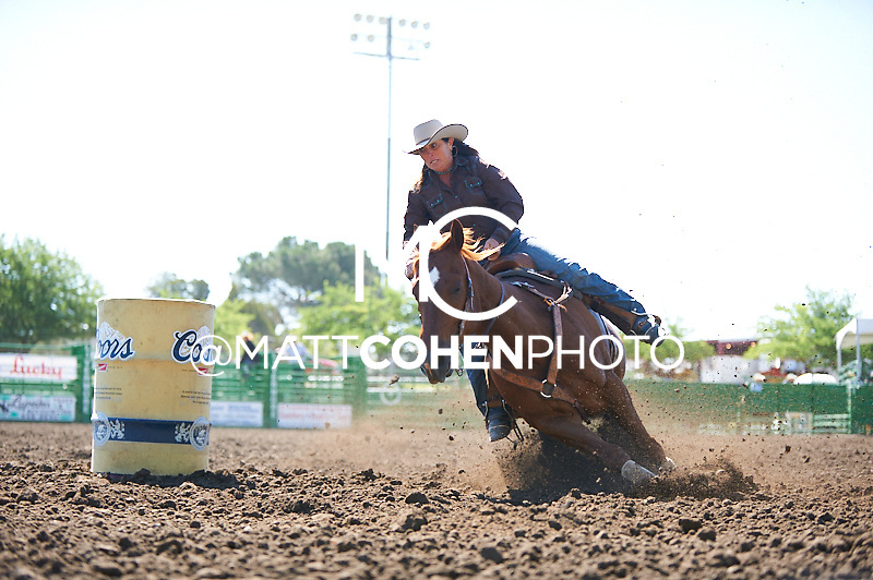 Barrel racer Mary Jo Camera of Turlock, CA competes at the Livermore Rodeo in Livermore, CA<br /> <br /> <br /> UNEDITED LOW-RES PREVIEW<br /> <br /> <br /> File shown may be an unedited low resolution version used as a proof only. All prints are 100% guaranteed for quality. Sizes 8x10+ come with a version for personal social media. I am currently not selling downloads for commercial/brand use.