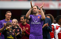 Arsenal's Petr Cech says goodbye to the club after the final whistle of the Premier League match at the Emirates Stadium, London.
