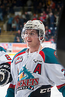 KELOWNA, CANADA - JANUARY 3: Tyson Baillie #24 of Kelowna Rockets stands at the bench against the Prince George Cougars on January 3, 2015 at Prospera Place in Kelowna, British Columbia, Canada.  (Photo by Marissa Baecker/Shoot the Breeze)  *** Local Caption *** Tyson Baillie;