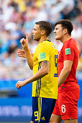 July 7, 2018 - Samara, Russia - 180707 Marcus Berg of Sweden reacts towards a referee ruling  during the FIFA World Cup quarter final match between Sweden and England on July 7, 2018 in Samara..Photo: Petter Arvidson / BILDBYRÃ…N / kod PA / 92083 (Credit Image: © Petter Arvidson/Bildbyran via ZUMA Press)