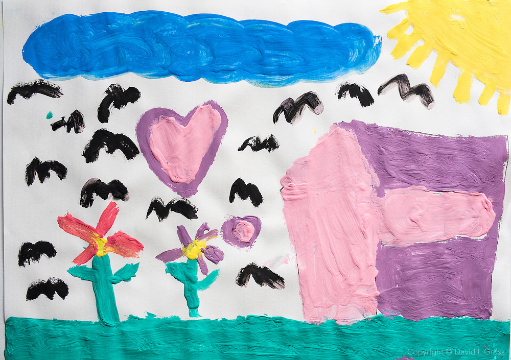 Drawing by Syrian refugee child of happiness.
