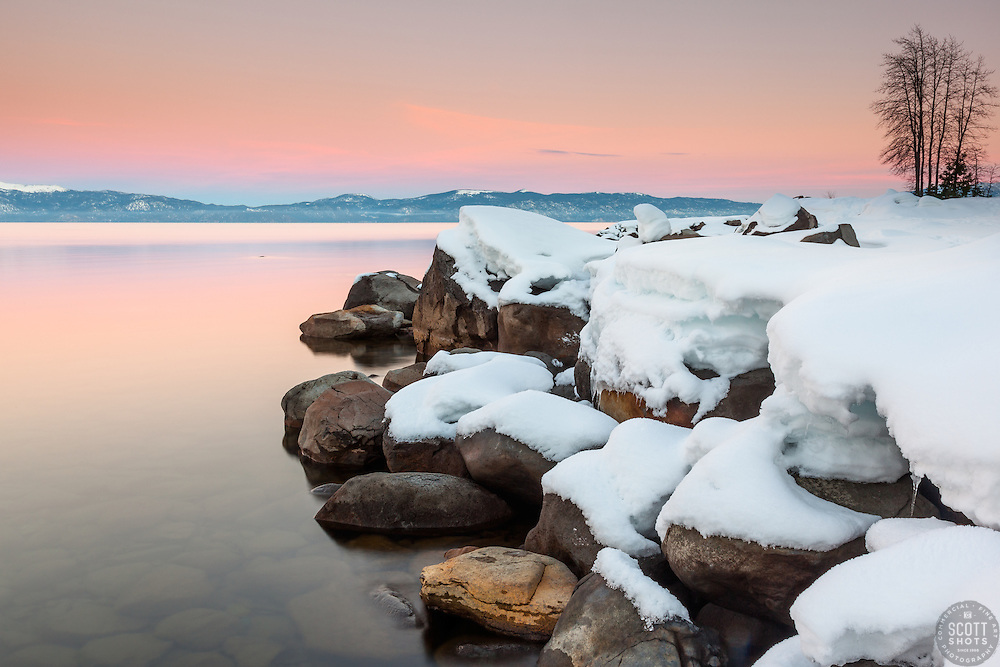 """""""Sunset at Lake Tahoe 34"""" - Photograph at sunset of snow covered boulders along the shore of Lake Tahoe, near Kaspian Point in Hurricane Bay."""