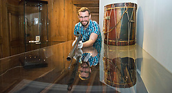 Pictured: Curator Nico Tyack handles an 18th century musket with care<br /> <br /> The latest Museum of Edinburgh exhibition documents the history of Edinburgh's Town Guard, which brought law and order to the city in the 18th century. Curator Nico Tyack and Museum Assistant David Mclay examined muskets, halberds and drums before the exhibition was opened to the public<br /> <br /> Ger Harley   EEm 15 June 2017