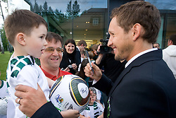 Andrej Zalar with his son and Andrej Komac at official presentation of Slovenian National Football team for World Cup 2010 South Africa, on May 21, 2010 in Congress Center Brdo at Kranj, Slovenia. (Photo by Vid Ponikvar / Sportida)