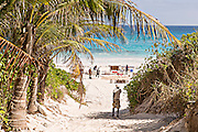 Path to the pink sands beach in Dunmore Town, Harbour Island, The Bahamas