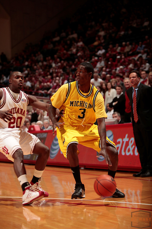 07 January 2009: Michigan guard Manny Harris as the Indiana Hoosiers played the Michigan Wolverines in a college basketball game in Bloomington, Ind.