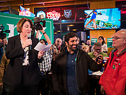 02 FEBRUARY 2020 - JOHNSTON, IOWA: US Senator AMY KLOBUCHAR speaks to a crowd of more than 650 people during a Super Bowl party hosted by the Klobuchar campaign at a barbecue restaurant in Johnston, a suburb of Des Moines. Sen. Klobuchar campaigned to support her candidacy for the US Presidency Sunday in Iowa. She is trying to capitalize on her recent uptick in national polls. Iowa holds the first selection event of the presidential election cycle. The Iowa Caucuses are Feb. 3, 2020.          PHOTO BY JACK KURTZ