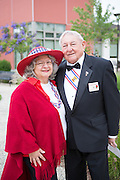Peggy and Lou Horyza pose for a portrait during the Milpitas Memorial Day Ceremony at Veterans Memorial Flag Plaza in Milpitas, California, on May 27, 2013. (Stan Olszewski/SOSKIphoto)
